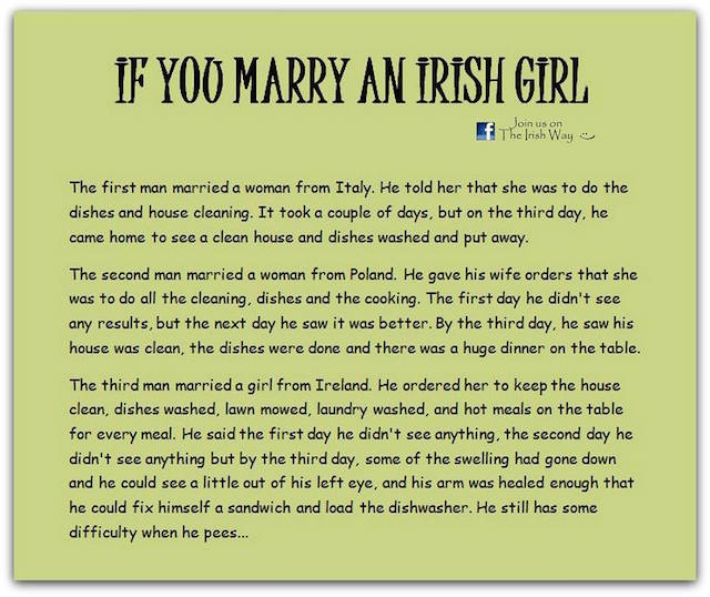 If you marry an Irish girl
